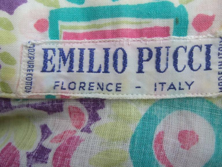 Emilio Pucci Cotton Pastel Print Blouse Made in Italy c 1970 6