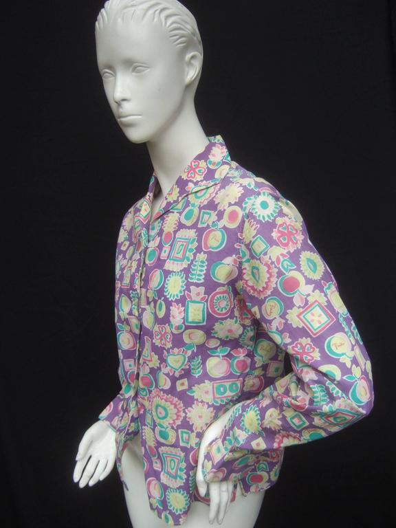 Emilio Pucci Cotton Pastel Print Blouse Made in Italy c 1970 For Sale 3