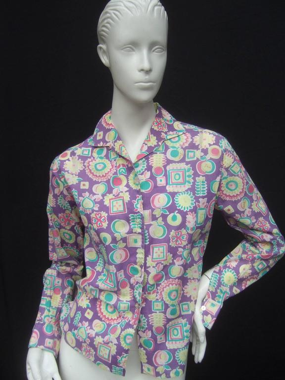 Emilio Pucci Cotton Pastel Print Blouse Made in Italy c 1970 For Sale 4