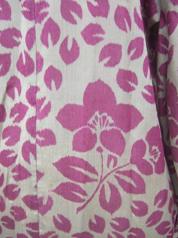 Japanese Style Flower Print Kimono Robe c 1970s 8