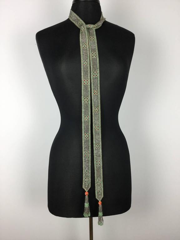 Gray 1920's Seed Bead Flapper Belt/Sautoir Necklace. Art Deco. For Sale