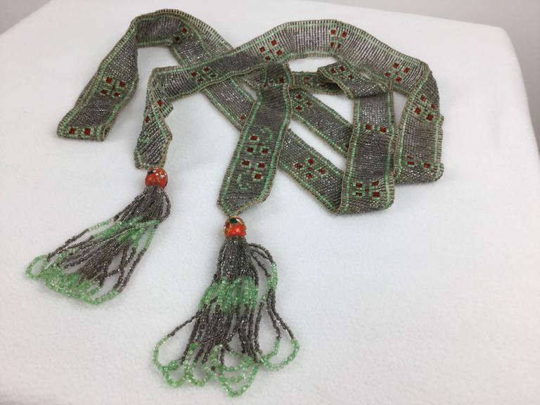 1920's Seed Bead Flapper Belt/Sautoir Necklace. Art Deco. 7