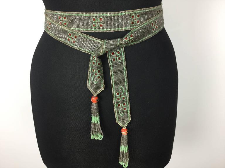 1920's Seed Bead Flapper Belt/Sautoir Necklace. Art Deco. 9