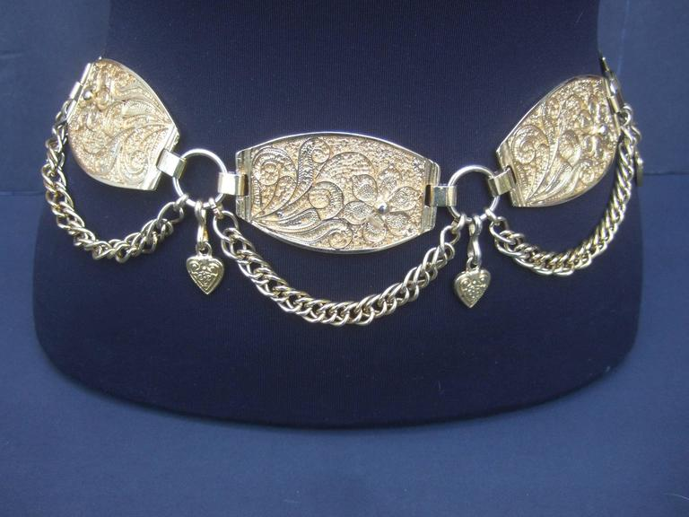 Neiman Marcus Italian gilt metal medallion belt
