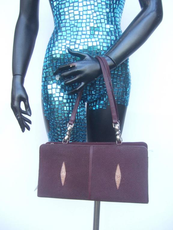 Exotic genuine stringray burgundy handbag 