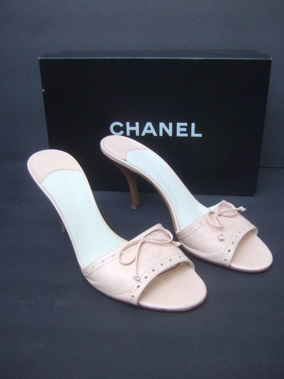 Chanel Classic Pale Pink Leather Mules In Box Size 40 At