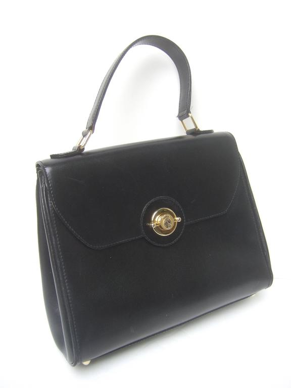 Saks Fifth Avenue Ebony Leather Handbag Made in Italy  In Good Condition For Sale In Santa Barbara, CA