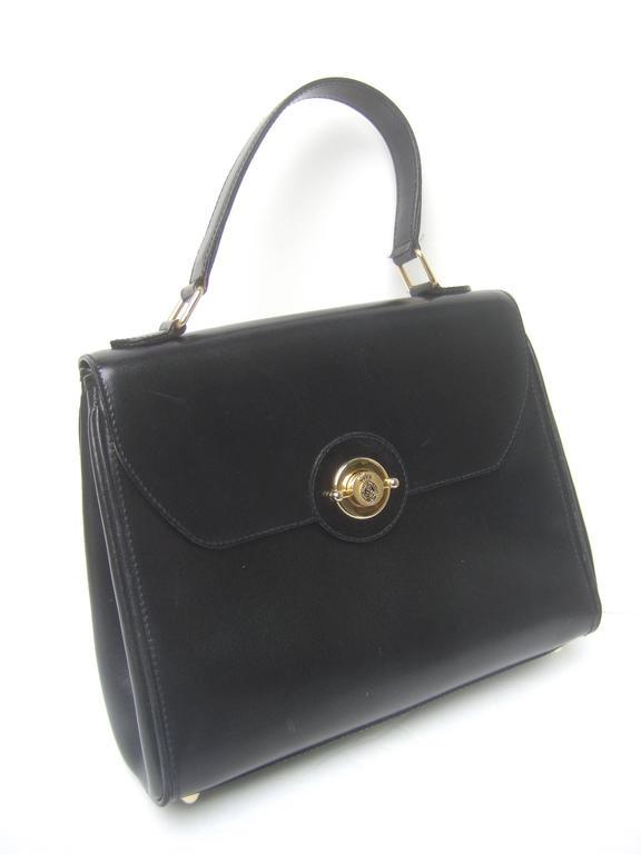 Saks Fifth Avenue Ebony Leather Handbag Made in Italy  In Good Condition For Sale In Santa Barbara, CA
