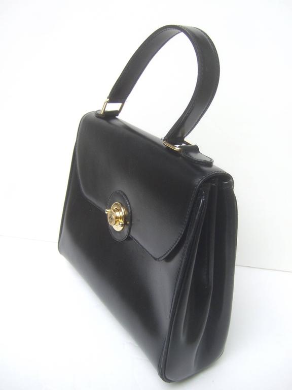 Saks Fifth Avenue Ebony Leather Handbag Made in Italy  For Sale 1