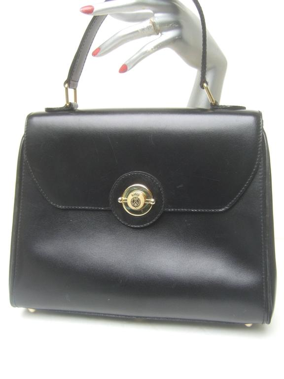 Black Saks Fifth Avenue Ebony Leather Handbag Made in Italy  For Sale