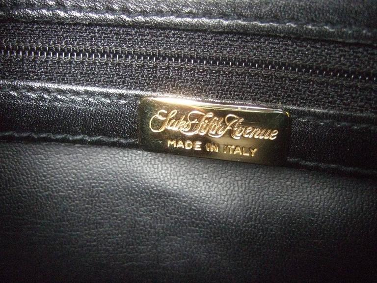 Saks Fifth Avenue Ebony Leather Handbag Made in Italy  For Sale 2