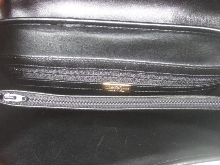 Saks Fifth Avenue Ebony Leather Handbag Made in Italy  For Sale 4