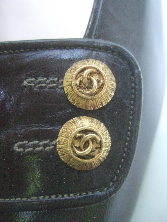 Women's Chanel Classic Gray Brown Leather Pumps ca 1980s