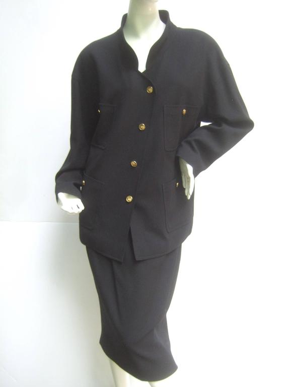 Chanel Classic black wool skirt suit ca 1990s
