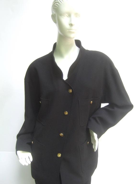 Chanel Classic Black Wool Military Style Skirt Suit ca 1990s In Excellent Condition For Sale In Santa Barbara, CA