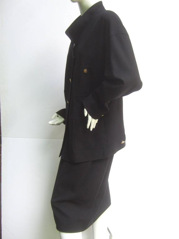 Chanel Classic Black Wool Military Style Skirt Suit ca 1990s For Sale 3