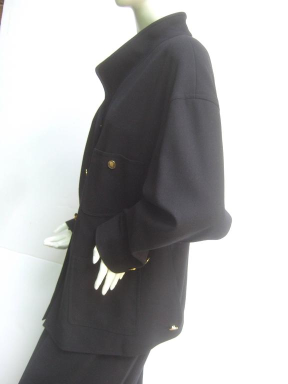 Women's Chanel Classic Black Wool Military Style Skirt Suit ca 1990s For Sale