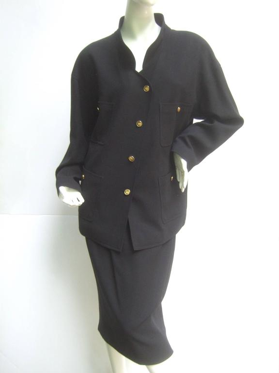 Chanel Classic Black Wool Military Style Skirt Suit ca 1990s For Sale 2