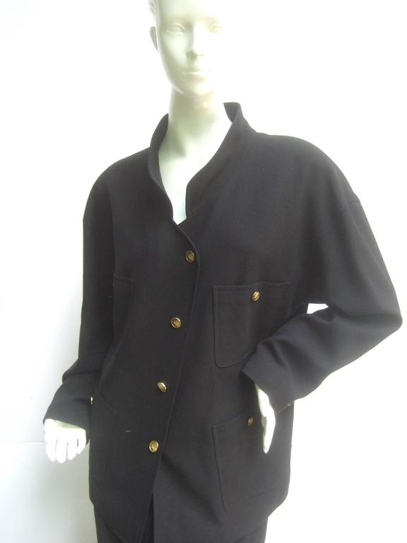 Chanel Classic Black Wool Military Style Skirt Suit ca 1990s For Sale 5