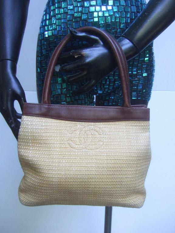 Chanel Woven Raffia Brown Leather Trim Handbag Made In