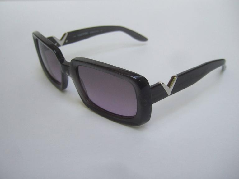 Valentino Sleek Ebony Lavender Lens Sunglasses Made in Italy at 1stdibs