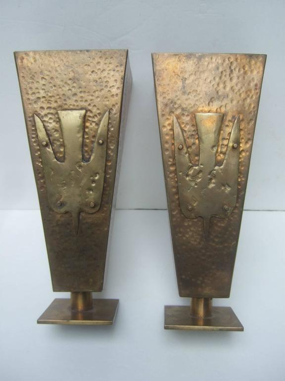 Brutalist pair of brass metal bird urns c. 1974