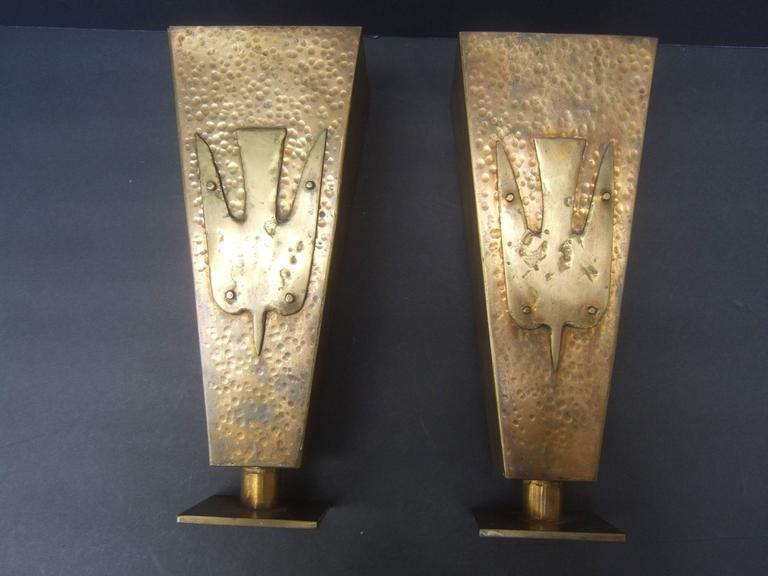 Brutalist Pair of Brass Metal Artisan Bird Urns ca 1974 In Good Condition For Sale In Santa Barbara, CA