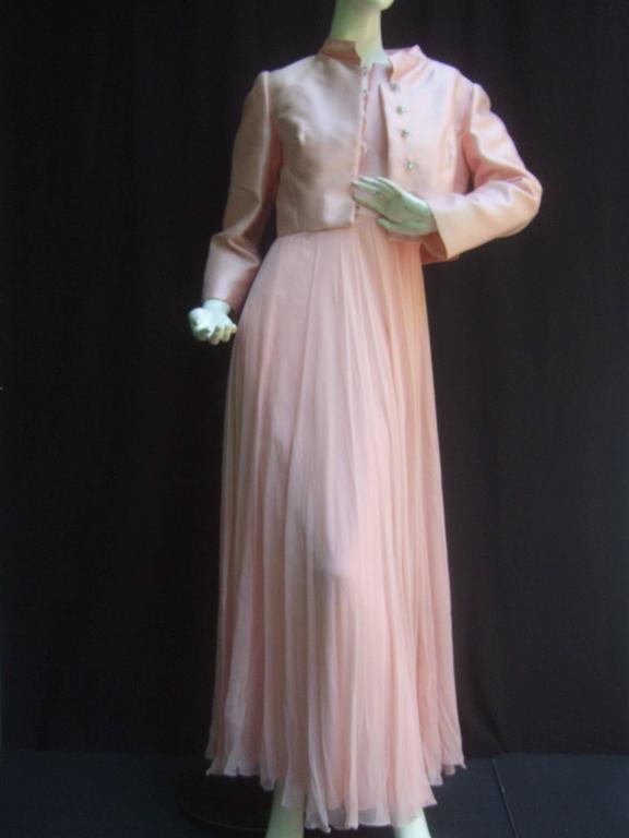 Elegant Pink Shantung Silk Chiffon Jacket Gown Ensemble C