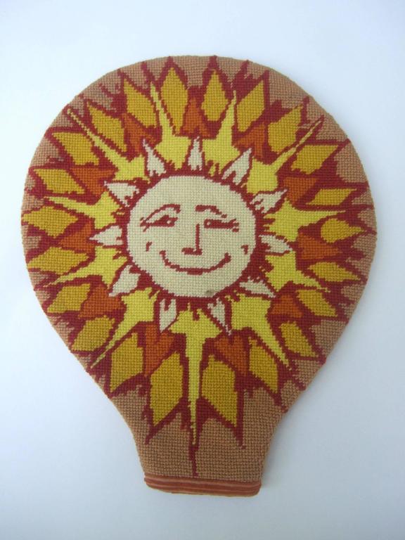 Women's Unique Needlepoint Sun Beam Tennis Racquet Cover c 1970s For Sale