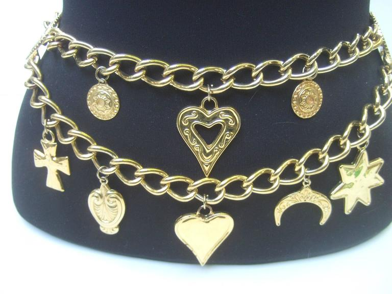 Ornate Gilt Metal Medallion Charm Belt Made in Spain  4