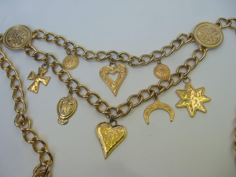 Ornate Gilt Metal Medallion Charm Belt Made in Spain  6