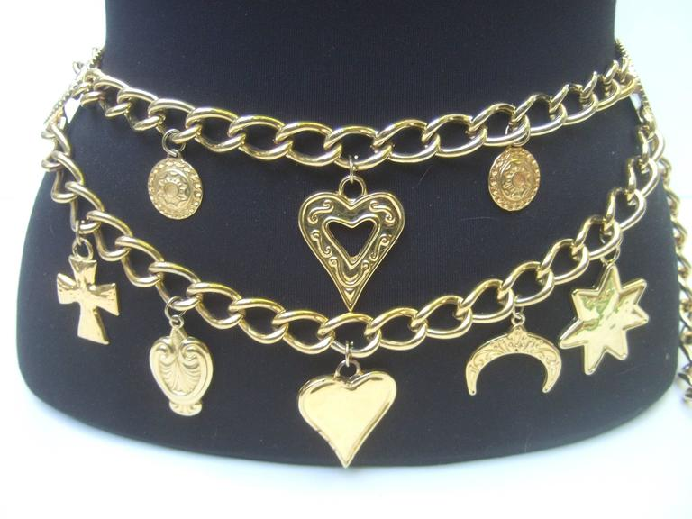 Ornate Gilt Metal Medallion Charm Belt Made in Spain  7