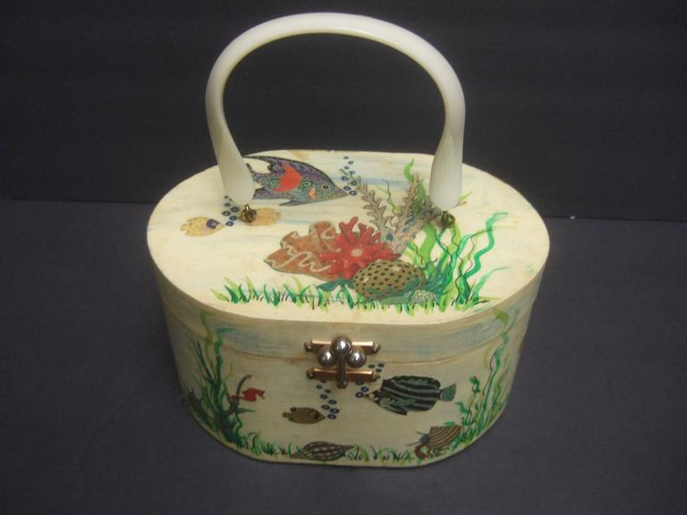 Whimsical Sea Life Decoupage Box Purse By Billie Ross Of