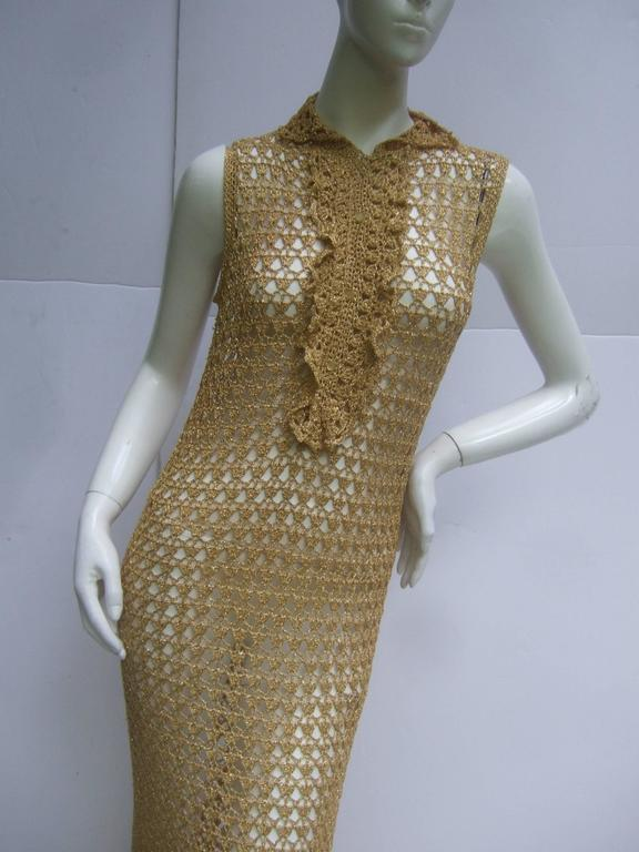 Slinky 1960\'s Gold Metallic Crochet Gown. at 1stdibs