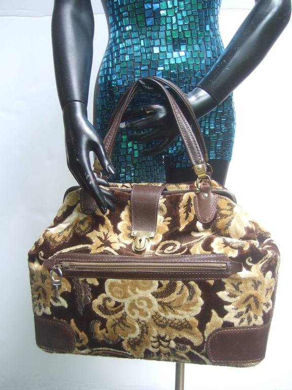 1stdibs Stylish Brocade Leather Trim Travel Bag C 1970 icBf6vYY