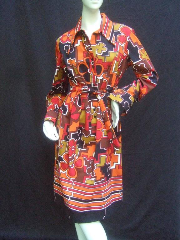 Lanvin Mod op-art print shirt dress c 1970s