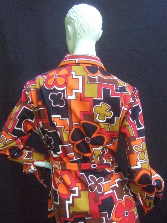 Women's Lanvin Mod Op Art Print Shirt Dress c 1970 For Sale