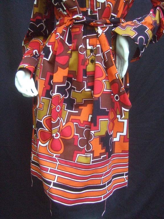 Lanvin Mod Op Art Print Shirt Dress c 1970 For Sale 4