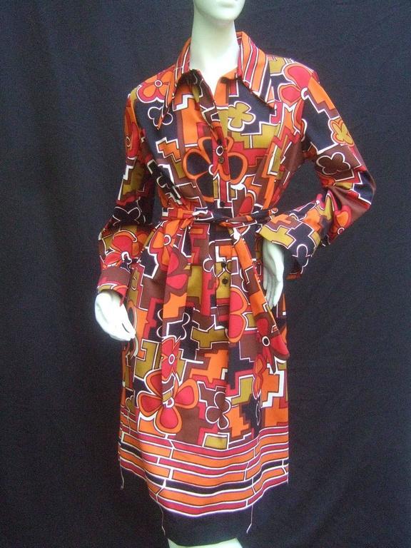 Lanvin Mod Op Art Print Shirt Dress c 1970 For Sale 1