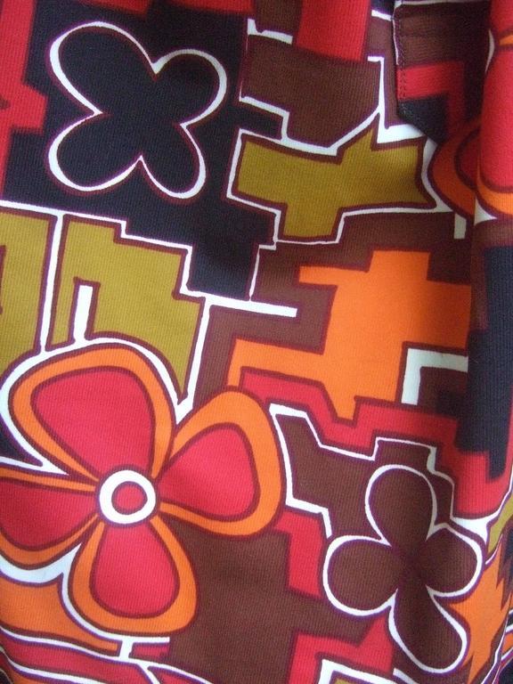 Lanvin Mod Op Art Print Shirt Dress c 1970 For Sale 3