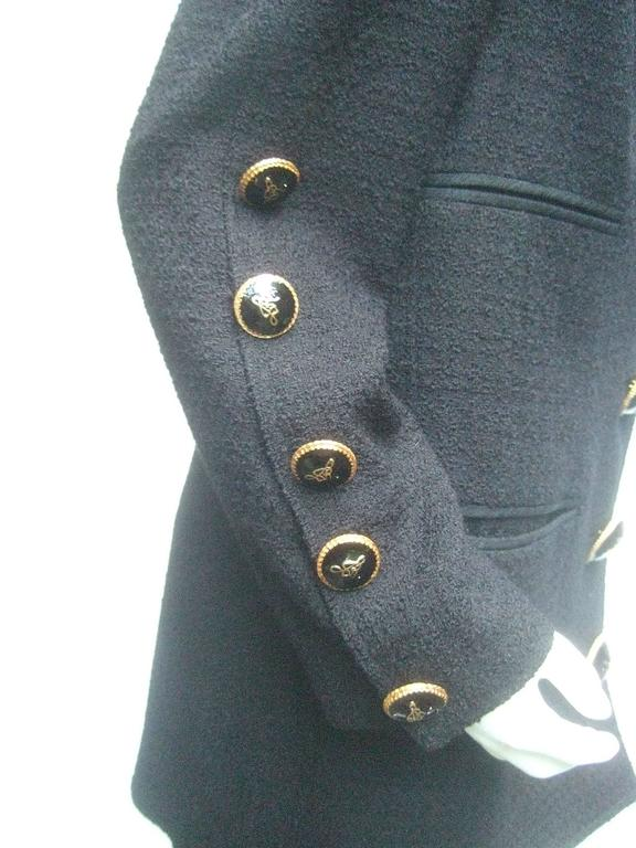 Liliane Romi Couture Paris Black Boucle Wool Jacket c 1990s In Excellent Condition For Sale In Santa Barbara, CA