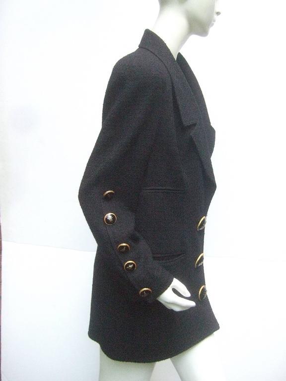 Women's Liliane Romi Couture Paris Black Boucle Wool Jacket c 1990s For Sale