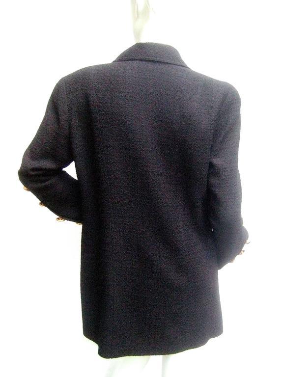 Liliane Romi Couture Paris Black Boucle Wool Jacket c 1990s For Sale 3