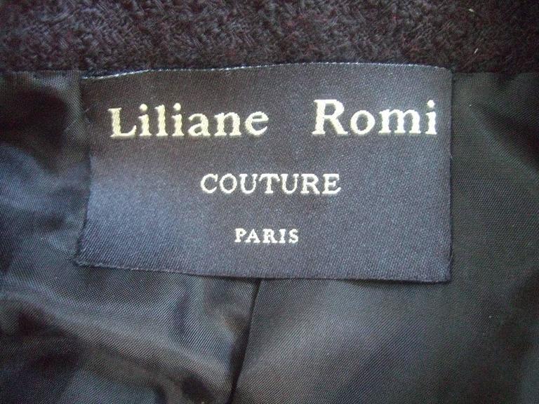 Liliane Romi Couture Paris Black Boucle Wool Jacket c 1990s For Sale 5