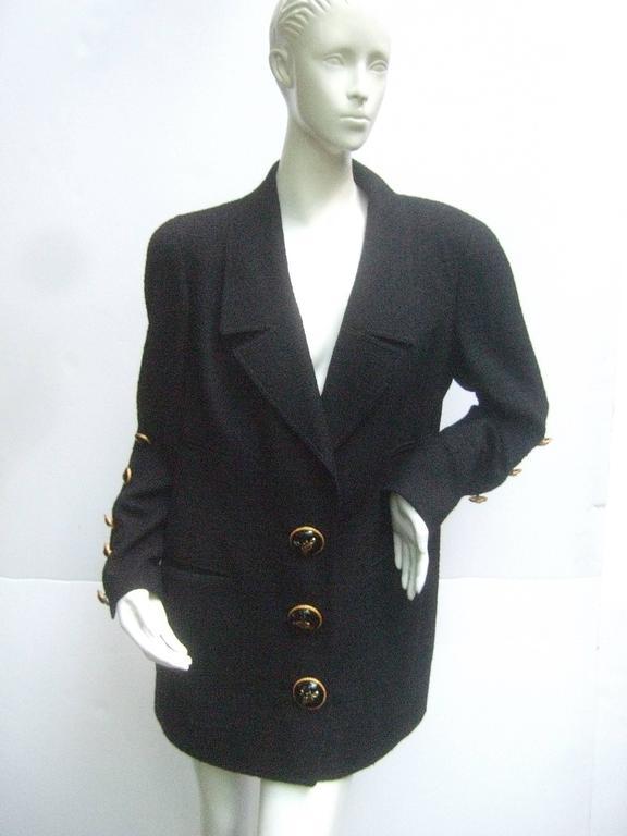Liliane Romi Couture Paris Black Boucle Wool Jacket c 1990s For Sale 6