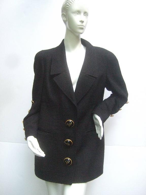 Liliane Romi Couture Paris Black Boucle Wool Jacket c 1990s For Sale 2