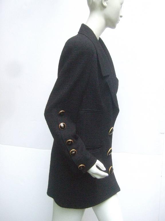 Liliane Romi Couture Paris Black Boucle Wool Jacket c 1990s For Sale 4
