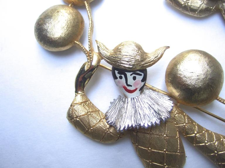 Unique Pair of Large Clown Brooches Designed by Polcini c 1970 In Excellent Condition For Sale In Santa Barbara, CA