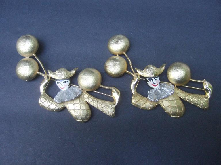 Women's Unique Pair of Large Clown Brooches Designed by Polcini c 1970 For Sale