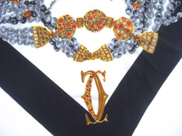 Cartier Paris Elegant Silk Jeweled Panther Scarf c 1980s 4